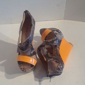 Just fab a yellow snake skin  wedge